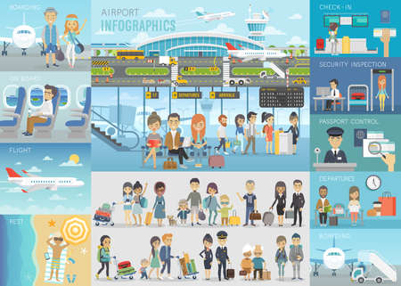 Ilustración de Airport Infographic set with charts and other elements. Vector illustration. - Imagen libre de derechos