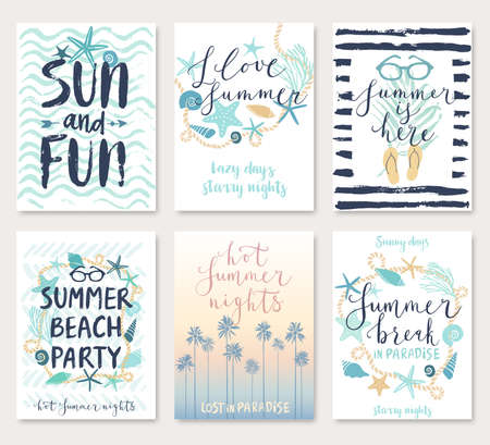 Illustration for Summer hand drawn calligraphyc card set. Vector illustration. - Royalty Free Image