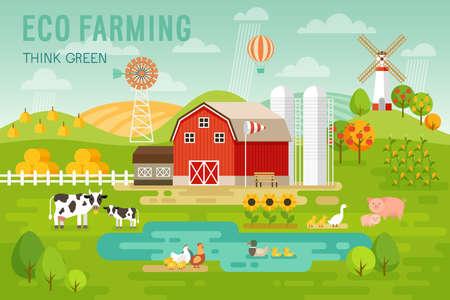 Ilustración de Eco Farming concept with house and farm animals. Vector illustration. - Imagen libre de derechos