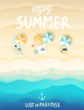Ilustración de Tropical beach poster. Vector illustration. - Imagen libre de derechos