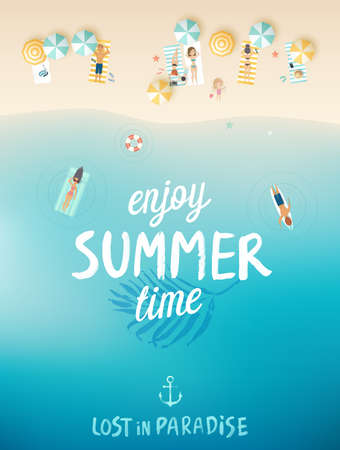 Ilustración de Tropical beach poster, Enjoy summer. Vector illustration. - Imagen libre de derechos