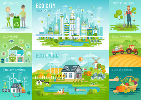 Illustration pour Eco set, recycling, planting trees, energy saving, eco farming themes. Vector illustration. - image libre de droit