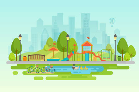 Illustration for City park Urban outdoor decor, elements parks and alleys Vector illustration. - Royalty Free Image