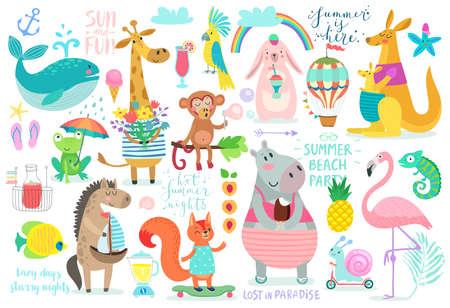 Ilustración de Animals hand drawn style, Summer set - calligraphy and other elements. Vector illustration - Imagen libre de derechos