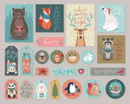 Ilustración de Christmas cards and gift tags set, hand drawn style. Vector illustration. - Imagen libre de derechos