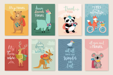 Illustration for Travel Animals card set, hand drawn style, Vector illustration. - Royalty Free Image