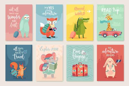 Photo pour Travel Animals card set, hand drawn style, Vector illustration. - image libre de droit