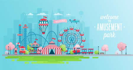 Vektor für Amusement park landscape banner with carousels, roller coaster and air balloon. Circus, Fun fair and Carnival theme vector illustration. - Lizenzfreies Bild