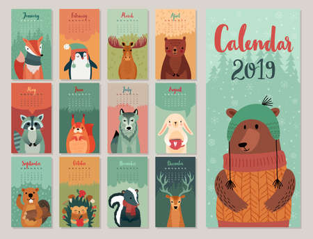Calendar 2019. Cute monthly calendar with forest animals. Hand drawn style characters. Vector illustration.