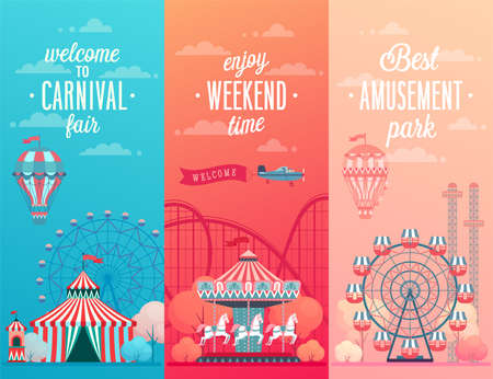 Illustration pour Set of Amusement park landscape banners with carousels, roller coaster and air balloon. Circus, Fun fair and Carnival theme vector illustration. - image libre de droit
