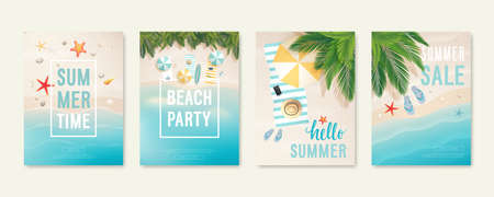 Illustration pour Tropical beach cards with sand, sea and palm trees. Summer flyers with starfish, flip flops and beach umbrellas. Summer time and summer sale posters. Vector illustration. - image libre de droit
