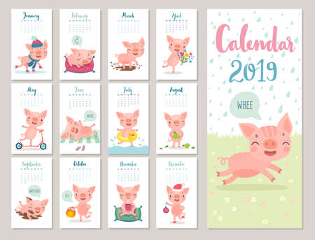 Illustration pour Calendar 2019. Cute monthly calendar with cheerful piggies. Hand drawn style characters. Travel theme. - image libre de droit