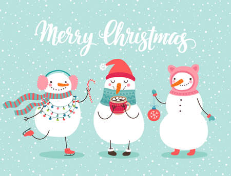 Illustration pour Christmas greeting card with cute snowmen. Funny characters with garland and christmas balls. - image libre de droit