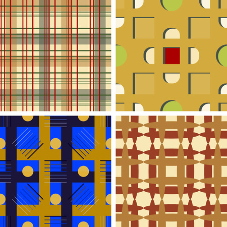 Set of four seamless vector patterns with different colored