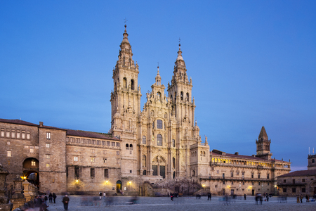 Santiago de Compostela Cathedral view from Obradoiro square at twilight. Cathedral of Saint James. Galicia, Spain