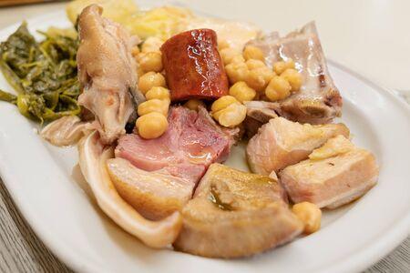 Foto de Galician stew. Cocido gallego dish. Typical dish of Galicia, Spain - Imagen libre de derechos