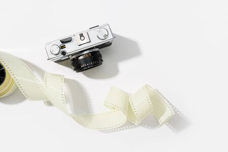 Photo for Background of vintage photo camera. Rangefinder film camera. Gray background. Copy space - Royalty Free Image