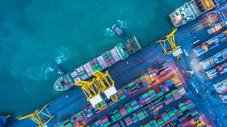 Photo pour Aerial view of container cargo ship - image libre de droit