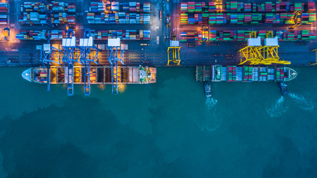 Photo pour Aerial view of container cargo ships - image libre de droit