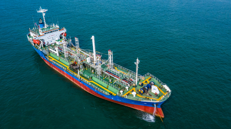 Photo pour Aerial view oil / chemical tanker in open sea, Refinery Industry cargo ship. - image libre de droit