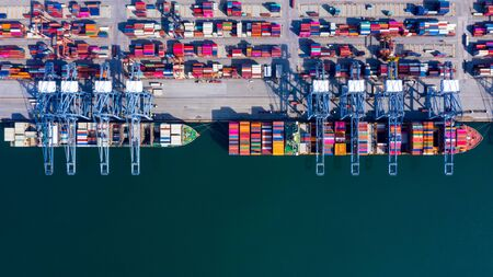 Photo for Aerial view container cargo ship freight shipping unloading at original destination port with quay crane, Business commercial global oversea logistic import export container box by container vessel . - Royalty Free Image