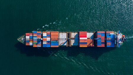 Foto de Aerial view container ship carrying container box global business cargo freight shipping commercial trade logistic and transportation oversea worldwide  by container vessel.Container cargo freight ship. - Imagen libre de derechos
