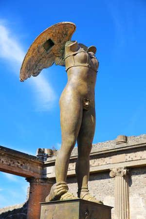Pompeii, Italy - October 8, 2016: Modern sculpture artwork by the Polish sculptor Igor Mitoraj Pompeii, Italy