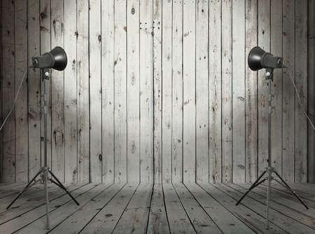 photo studio in old wooden room