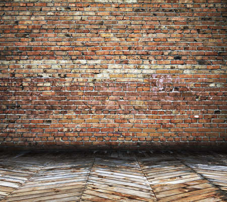 old room with brick wall, vintage backgroundの写真素材
