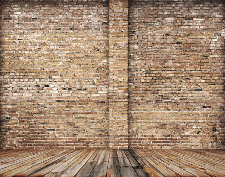 old room with brick wall, vintage background の写真素材