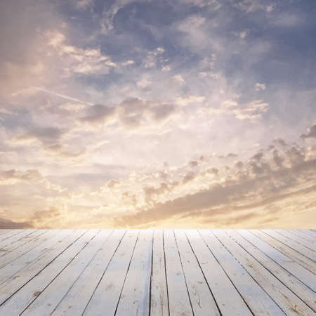 sunset sky and wood floor, vector