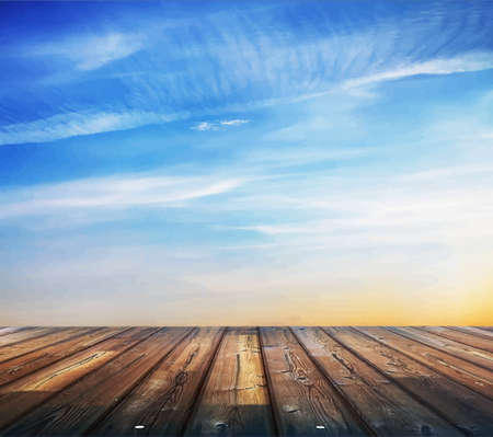blue sunset sky and wood floor, background
