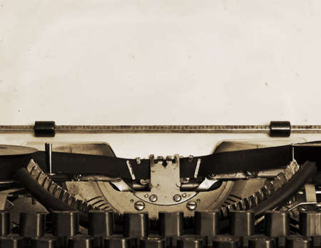 Illustration for obsolete typewriter with paper - Royalty Free Image