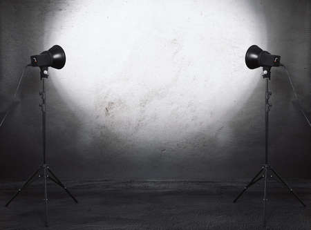 Photo pour photo studio in old grunge room with concrete wall, urban background - image libre de droit