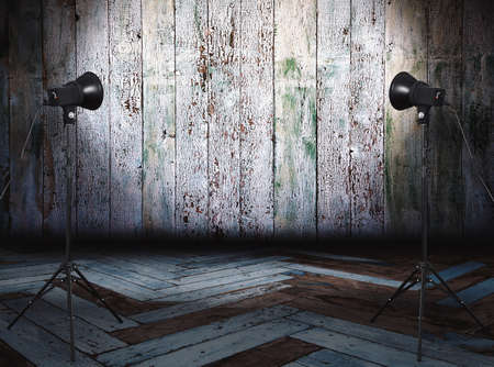 Photo pour photo studio in old room with wooden wall - image libre de droit
