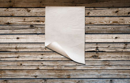 Photo for white paper on old wooden wall, background with copy space - Royalty Free Image