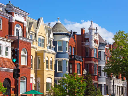 Luxury townhouses of the US capital. Row houses near Dupont Circle in Washington DC, USA.