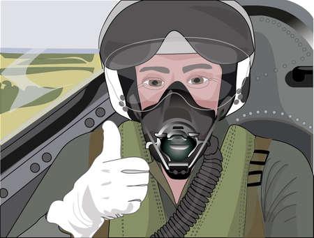 Profession pilot in the cockpit preparing to start