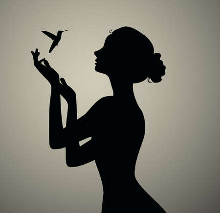 Illustration for Black silhouette of the girl bird watching - Royalty Free Image