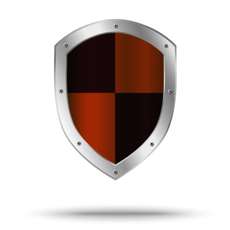 Metal shield with hazard symbol in the center. Protection symbol.