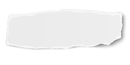 Ilustración de White vector elongate paper tear wisp with soft shadow isolated - Imagen libre de derechos