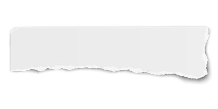 Illustration pour White vector elongate paper tear wisp with soft shadow isolated - image libre de droit