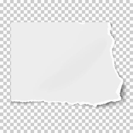Illustration for White square paper tear isolated on white background with soft shadow. Vector illustration. - Royalty Free Image