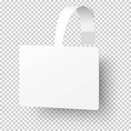 Illustration for Vector white rectangular self adhesive supermarket shelf paper wobbler, price banner isolated on transparent background. Template design. - Royalty Free Image