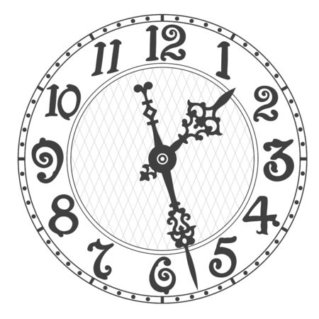 Illustration pour Elegant clock face and clock hands with tick marks placed on a white. Vector illustration. - image libre de droit