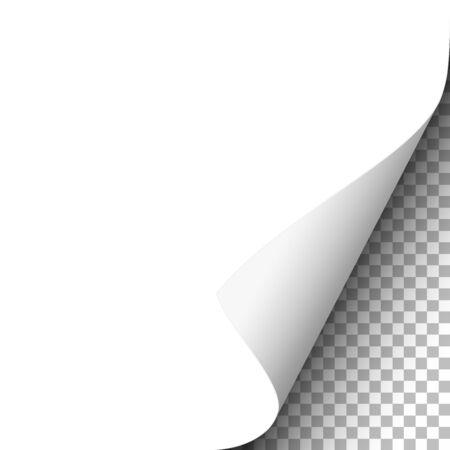 Illustration pour White paper sheet with lower right curl. Vector template paper design. - image libre de droit