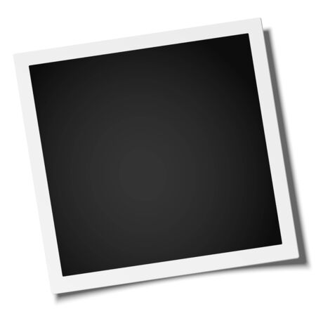 Illustration pour Vector retro realistic square photo frame placed on white. Template photo mock-up. - image libre de droit