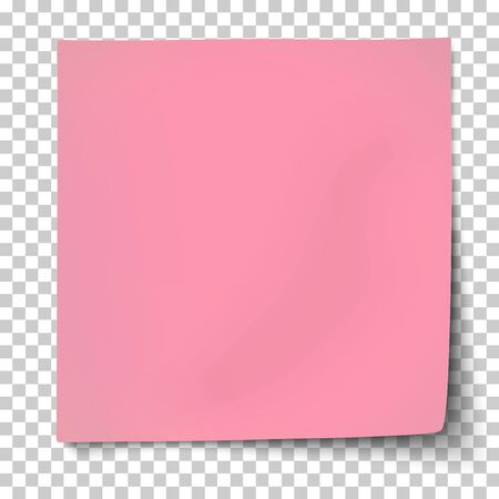 Illustration pour Office pink paper sticker with bent lower right and shadow isolated on transparent background. Template vector post note. - image libre de droit