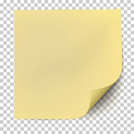 Illustration pour Office yellow paper sticker with curled the lower right corner and shadow isolated on transparent background. Template vector post note. - image libre de droit