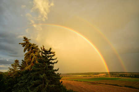 Double Rainbow over Field Landscape after Thunderstorm